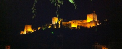Alhambra palace at night  Granada Spain