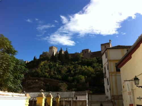 Alhambra seen from Calle Banuelo Granada Spain