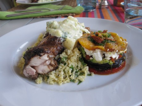 Annie Bs Cooking in Spain Moroccan Chicken, Veg Stack & Bulgar Wheat