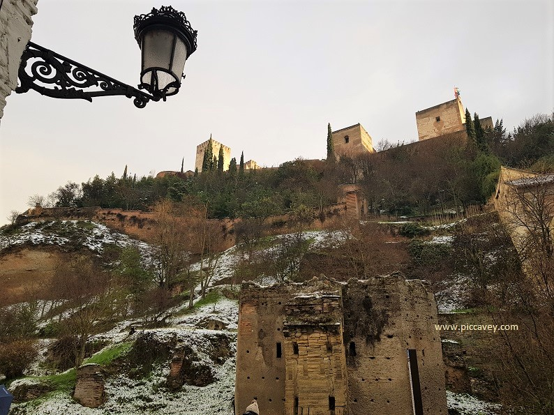 Alhambra Palace Granada Spain Snow