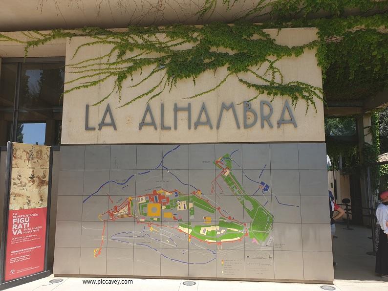 Alhambra Palace Metal Map Taquillas Main Entrance alambra granada