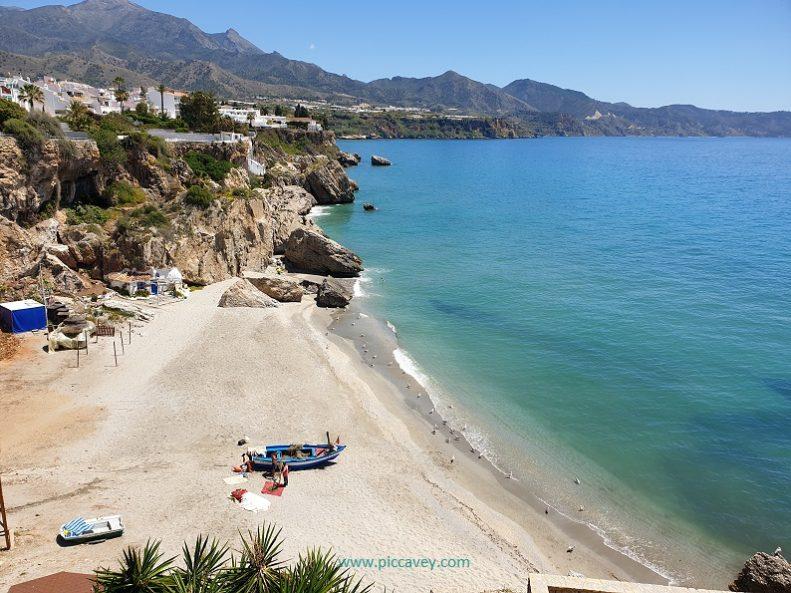 Beach in Nerja Balcon de Europa Costa del Sol Spain blog