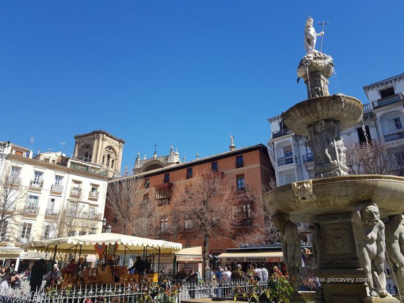 Bib rambla Square in Granada Andalusia