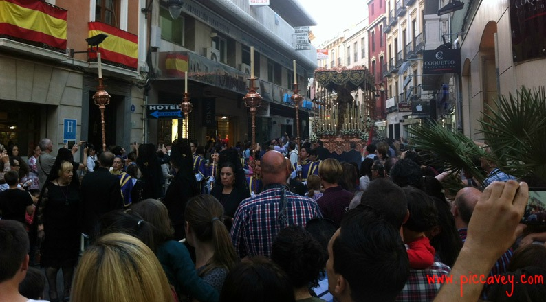 Busy Easter streets Granada Spain