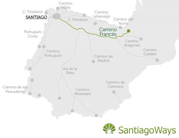 Camino de Santiago Map of Routes