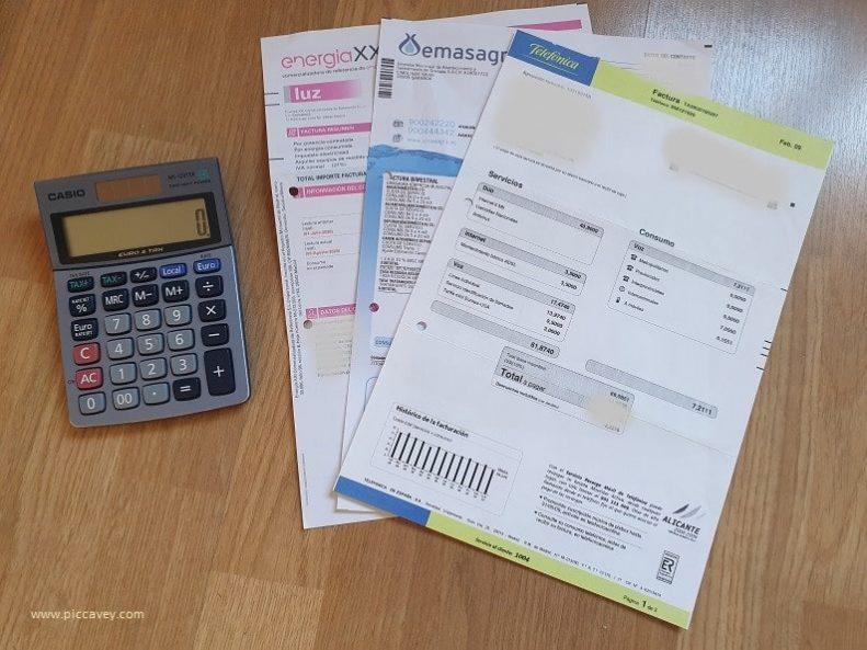 Invoices Cost of Living Granada Spain
