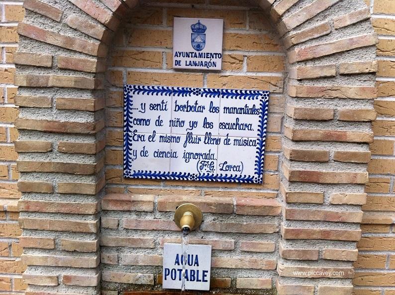 Lorca Poem on Fountain in Lanajron Spain