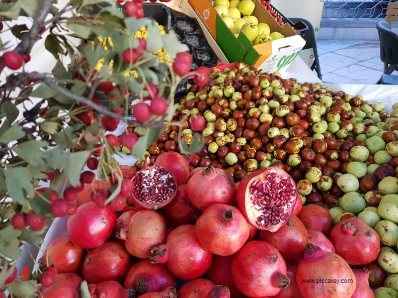 Seasonal Fruit in Spain Jujubes Berries Pomegranate