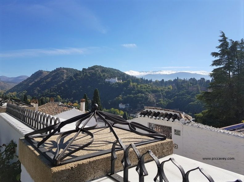 Views from Granada Mosque to Alhambra Palace